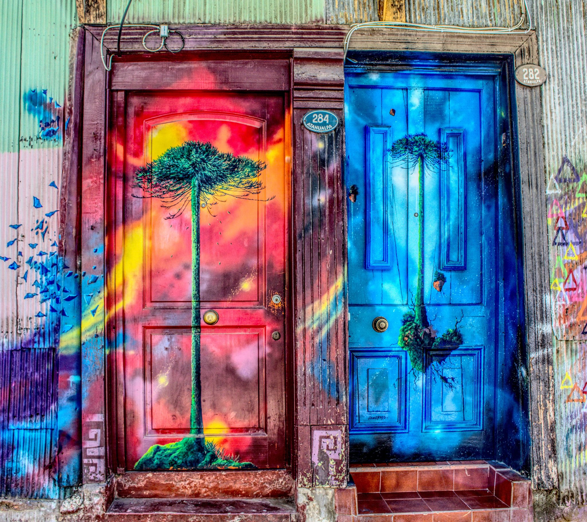 two artistic doors