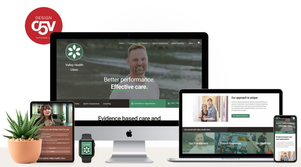 A website design in different responsive formats.