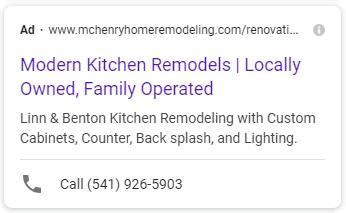 McHenry Google Ad