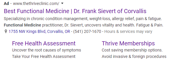 Thrive Clinic Google Ad