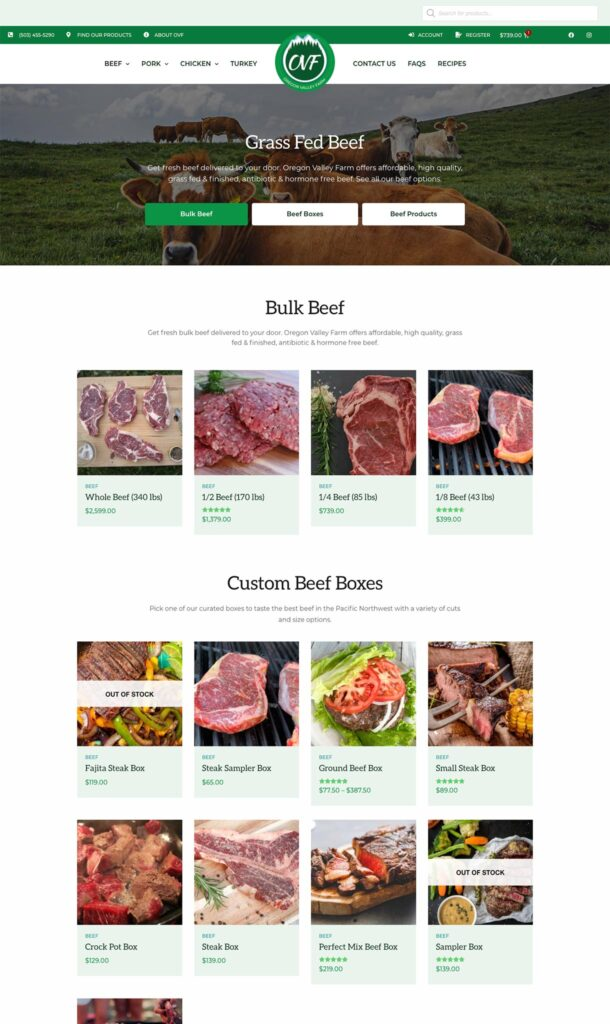 Clark Five Design redesigned the website of Oregon Valley Farm